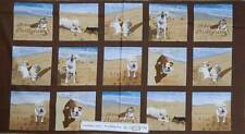 Patchwork Quilting Fabric - Dogs In Sand - Panel 60 x 110cm New Cotton Quilt NEW