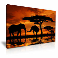 Elephants Sunset African Animals Canvas Wall Art Picture Print 76x50cm