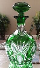 VINTAGE Bohemian Emerald Green Cut to Clear Crystal Carafe Decanter, Excellent!!
