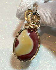 21ct Australian MOOKAITE  Pendant 14k Yellow gold gf  w/ necklace Awesome Pat.