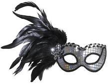 Plata holográfica Máscara De Ojo eyemask Con Plumas Masquerade Ball Fancy Dress