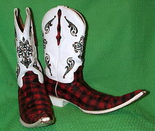 Mens Red White Plaid El General Tall Toe Mexican Boots Size 10