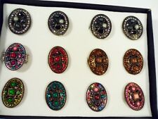 12 Box Set ring wholesale jewelry lot vintage style fashion Crystal Rhinestone l