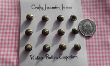 12  Metal & Green rays with Glass tip Shank Antique Vintage Boot Buttons 10mm