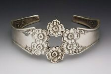 "SILVER SPOON FLORENTINE CUFF BRACELET ANTIQUE SPOON PATTERN DESIGN 5 1/2"" ADJUST"