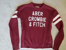 WOMENS ABERCROMBIE & FITCH A&F RED LONG SLEEVE LOGO WHITE STRIPE SWEATER SMALL
