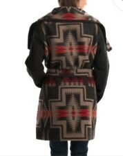 NWT $550 PENDLETON Black Southwest Indian Blanket Wool Belted Wrap Jacket Coat L