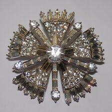 Vintage Signed Corocraft Rhinestone Brooch Pin Starburst Star Flower Art Deco NR