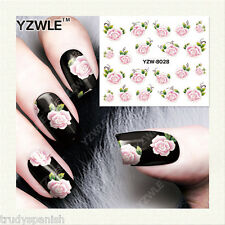 Nail Art Water Decals Stickers Pretty Summer Pink Green Flowers Gel Polish 8028
