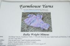 Farmhouse Yarns Knitting Pattern Bulky Weight Adult Mittens to Mens Large