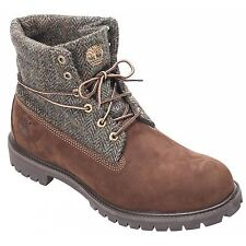 Icona Timberland Roll Top Stivali Marrone Tweed BIG UOMO UK Taglia 14.5