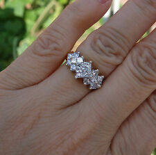 1.40ctH-VS-SI1 Princess Diamond cluster right-hand ring 14k