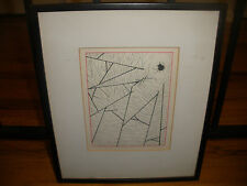 Vintage ink drawing painting spider web by artist Butman