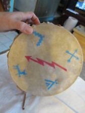 "Vintage bird design Handmade Leather Hidetoy  Drum  8.25"" x 5"" NAT"