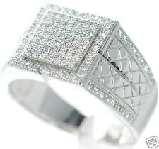 Men's Solid 925 Sterling Silver Simulated Diamond Ring Size-10 '
