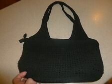 Amanda Smith Knit Crochet Handbag Purse Tote Hobo Black Zip Top