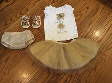 Gymboree PINEAPPLE SPARKLE outfit 6-12 Months Baby Girl Gold Tutu Shoes SZ 2