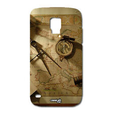 CUSTODIA COVER CASE CARTINA BUSSOLA MARRONCINO PER SAMSUNG GALAXY  S4 I9500