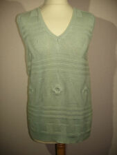 LADIES PALE GREEN SLEEVELESS TOP - 90% COTTON - SIZE 14