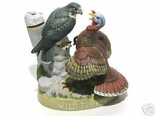 WILD TURKEY WITH FALCON #11 BISQUE DECANTER BOTTLE 1986 FULL SIZE