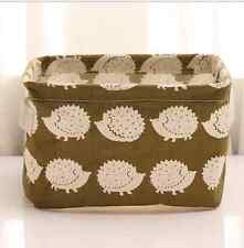 Cotton Linen Home Storage Box Clothes Organizer Folding Desk  Hedgehog Organizer