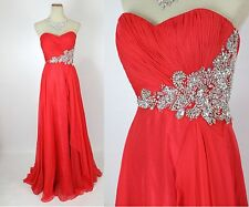 Jovani Size 2 Red Prom Formal Long Gown Evening Dress $500 Strapless Cruise