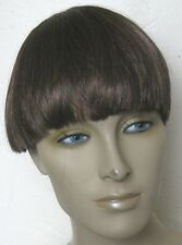 chestnut brown clip in on fake fringe bangs hair extension hairpiece fancy dress