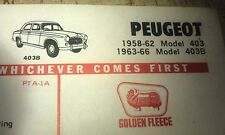 1958 - 1966 PEUGEOT 403 403B   - GOLDEN FLEECE Lube Chart