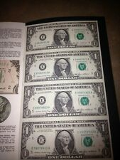 UNCUT SHEET OF 4 1985 $1 DOLLAR BILLS, UNCIRC. CURRENCY, US BILLS
