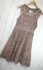Cream abito taglia 42 ALYSSA DRESS ❤ ROSE Powder lustrini e strass nuovo