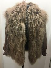 Vtg Mongolian Fur Knit WOOL Shaggy Vest/ Jacket Coat Sweater
