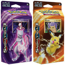POKEMON CARDS XY-12 EVOLUTIONS MEWTWO & PIKACHU BOTH 60-CARD THEME DECKS