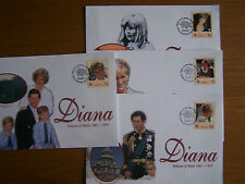 KIRIBATI,1998 DIANA.4 X FIRST DAY COVERS.EXCELLENT.