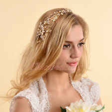 Luxury Gold Flower Bridal Tiara Crown Headband Veil Hair Accessory Headpiece