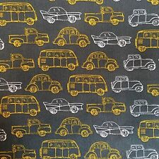 0.25m Taxi Car Bus Outline Grey Yellow White Print Cotton Craft Dress Fabric