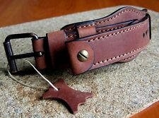 MILITARY WATCH BAND GENUINE LEATHER STRAP BROWN CUFF BRACELET 24mm