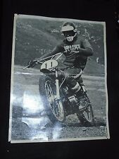 Vintage 1972 MOTOCROSS  B&W 11X14 PHOTO Gary Bevans on Yamaha Osteens Cycle Park