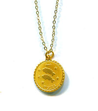 Vintage Brass & Yellow Gold Plated Pisces Sign Pendant Necklace