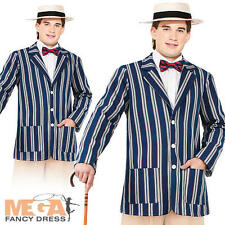 1920s English Boater Jacket Mens Fancy Dress Roaring 20s Victorian Adult Costume