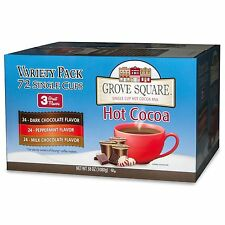 Grove Square Hot Cocoa Variety K Cups Keurig Peppermint Milk & Dark Chocolate 72