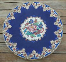 Emaux de Longwy Vintage Blue & Ivory Platter, M.P. Chevallier Made in France