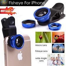 180 ° Lente Clip en Ojo de Pescado Lente Gran Angular Macro Cámara Kit Para Teléfono Tabletas UK