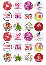 24 30TH FEMALE BIRTHDAY CUPCAKE TOPPER WAFER RICE EDIBLE FAIRY CAKE BUN TOPPERS