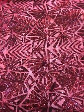 BURGUNDY 4 WAY STRETCH SNOWFLAKE GEOMETRIC SHINNY SEQUINS FABRIC BY THE YARD