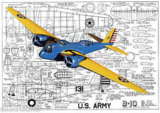 """SCALE CONTROL LINE 57"""" twin .35 Martin B-10 MODEL AIRPLANE PLANS & Article"""