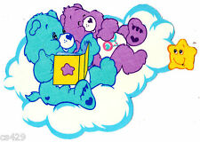 """7"""" CARE BEARS ON A CLOUD BEDTIME FRIEND GLOW IN THE DARK FABRIC APPLIQUE IRON ON"""