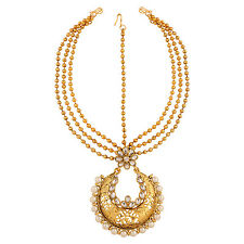Pearl bridal maang tikka for wedding mang tika girls jewellery:ORMA0224WH