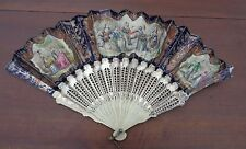 fine antique  hand colored French hand fan