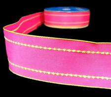 """2 Yds Bright Pink Lime Green Stitch Wired Ribbon 1 1/2""""W"""