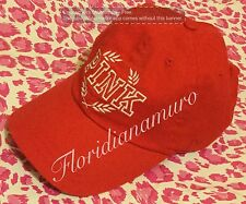 New Victoria's Secret PINK Red White Logo Baseball Cap Hat Adjustable OS NWT